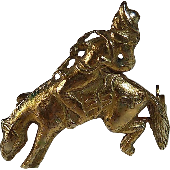 14k YG Pin Cowboy on Bucking Bronco c1915