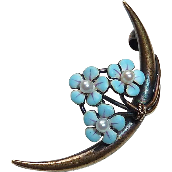 Victorian 14k Krementz Pin Crescent w Enamel & Pearl Flowers