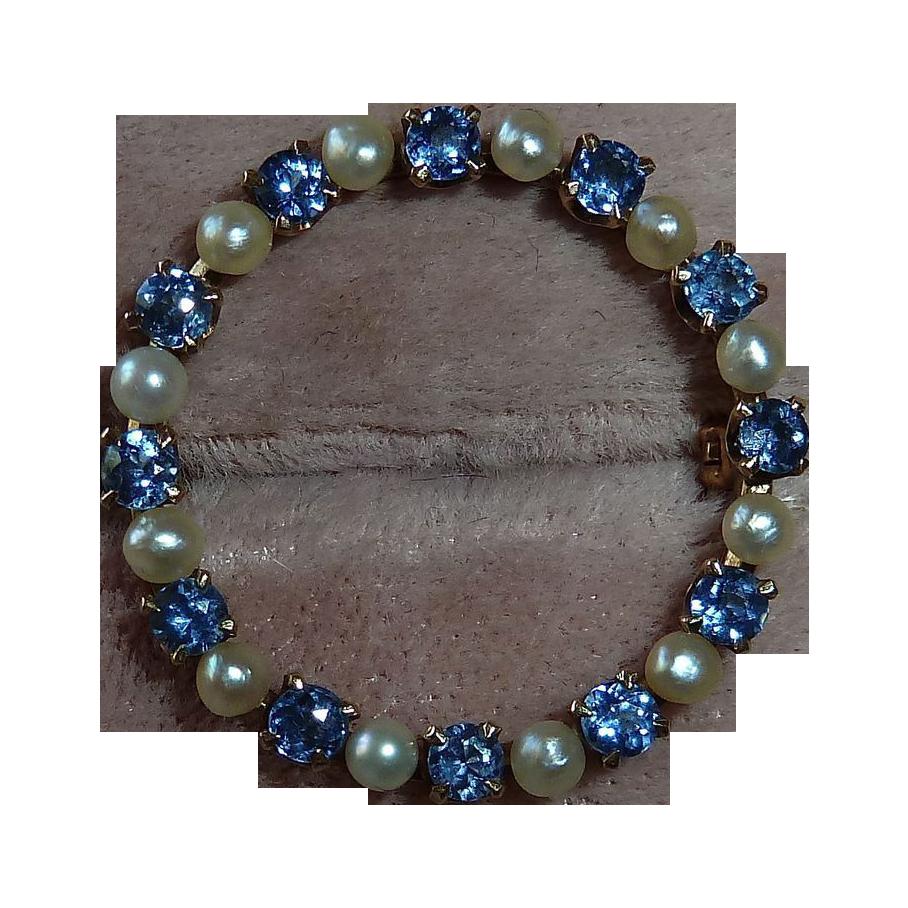 Classic 14k Sapphire & Pearl Circle Pin