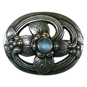 Georg Jensen Denmark Sterling & Moonstone Flower Pin