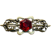 Victorian Brass Red Faceted Glass Jewel Pin