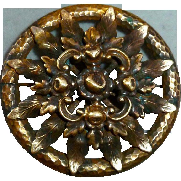 Dimensional Brass Foliate Design Pin c1940s