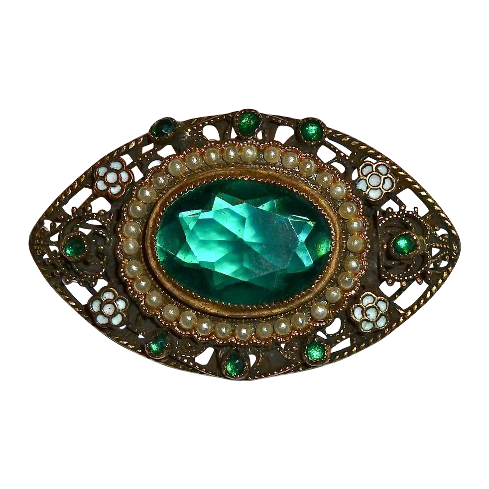 Ornate Brass Green Jewel ~ Faux Pearls ~ Enamel Pin