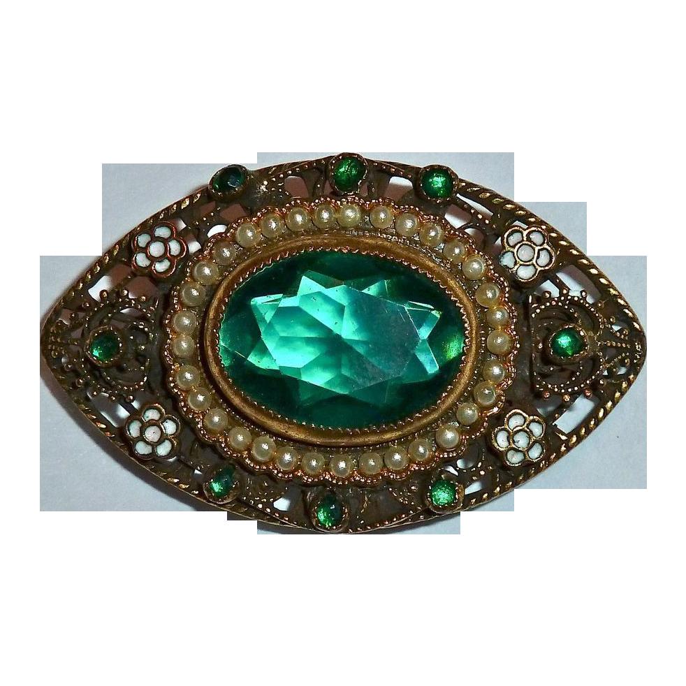 Ornate Brass Green Jewel ~ Faux Pearls ~ Enamel Pin