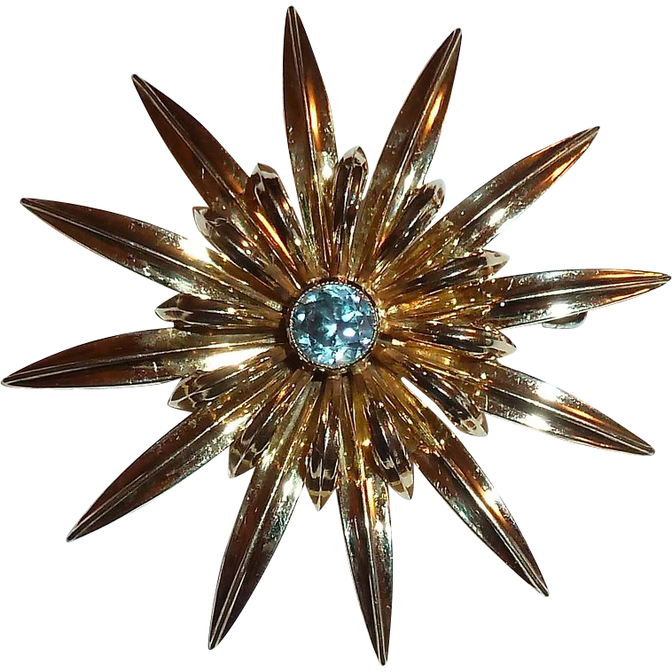 Sterling & 14K Symmetalic Star Flower Pin w Blue Zircon