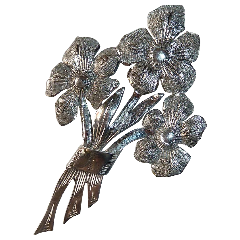 Handcrafted Sterling Repousse & Engraved Floral Bouquet Pin