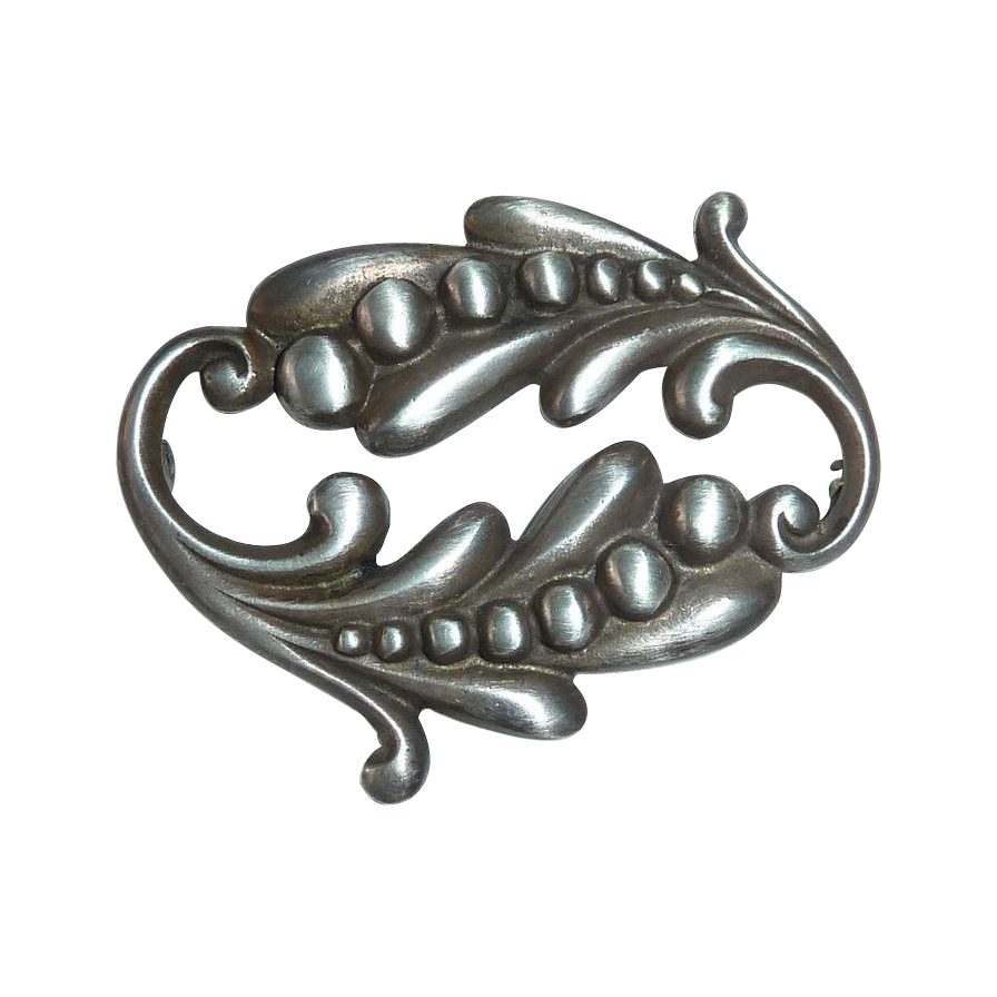 Viking Craft Sterling Sensuous Nouveau Style Pin