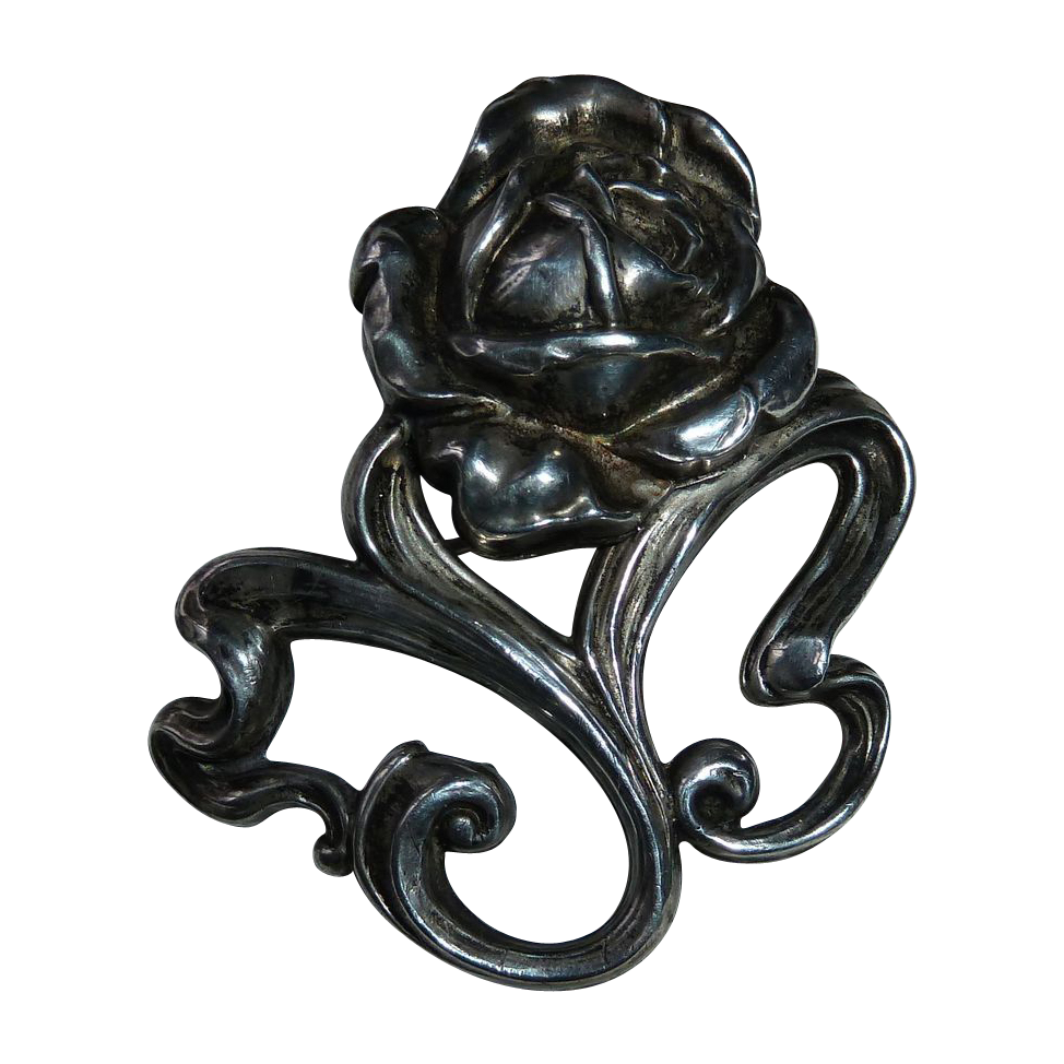 Antique Art Nouveau Sterling Rose Pin