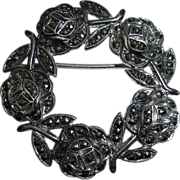 Circle of Roses Sterling & Marcasite Pin