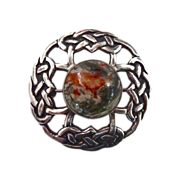 John Hart Iona Celtic Endless Knot Sterling Moss Agate Pin