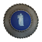 Lillian Pines Sterling Pin Wedgwood Cameo Woman w Lyre