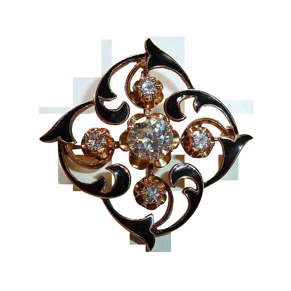 14k Diamond Enamel Victorian Revival Pendant / Pin