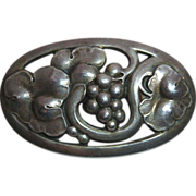 Georg Jensen Early Sterling Grapes & Leaves Pin 177