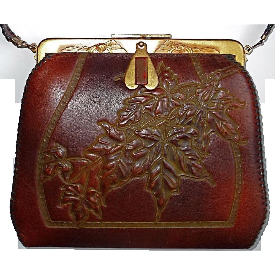 b5b254b220 1915 Tooled Leather Ladyu2019s Art Nouveau Arts and Craft Hand Bag  Bluebonnet Hill Estates .
