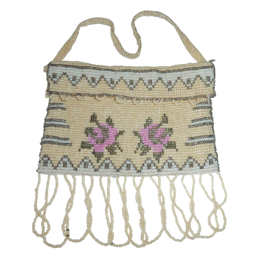 Beaded Miniature Purse w Roses & Fringe
