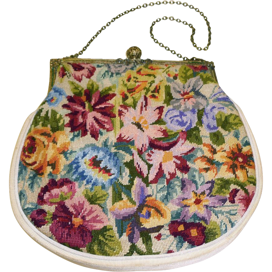 Vintage Vibrant Floral Silk Needlepoint Purse