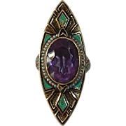 Superb Art Deco 14k Ring Amethyst Enamel Pearls