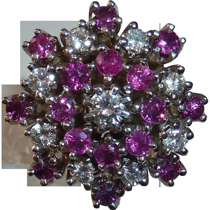 14k Diamond & Ruby Tiered White Gold Dinner Ring