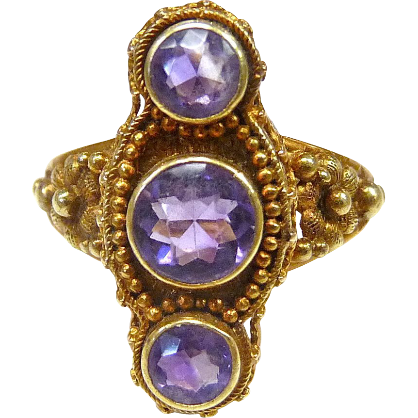 Victorian 14k & Amethyst Etruscan Revival Ring