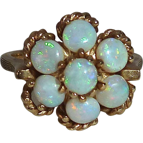 Six Opal Rosette 14k Yellow Gold Dinner Ring c1960s