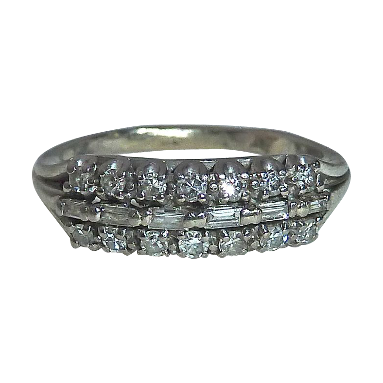 Art Deco 14k White Gold Ring 3 Rows of Diamonds