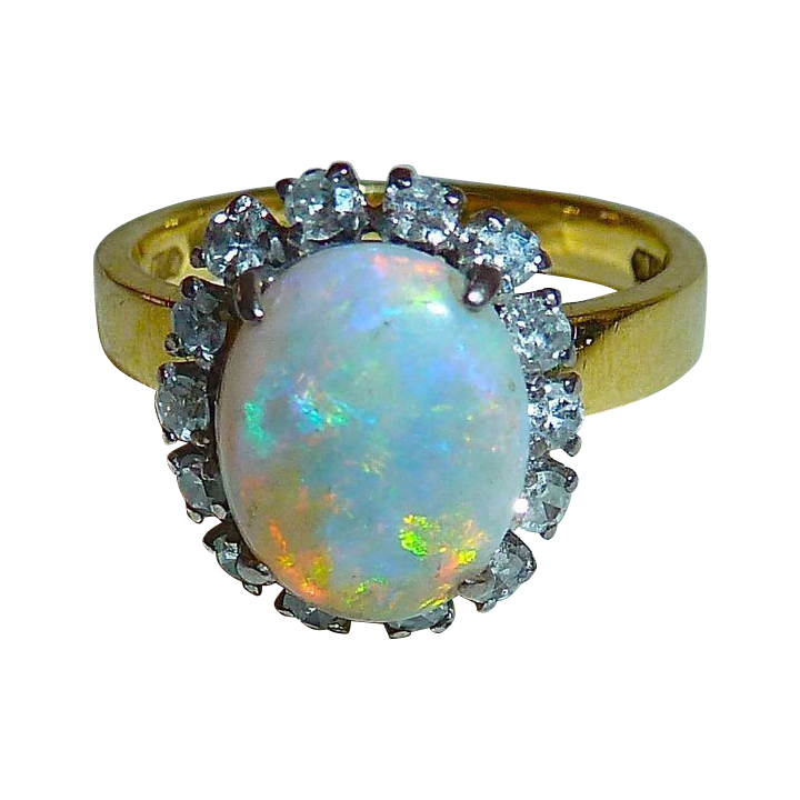 18k Fiery Opal Ring Framed w Diamonds