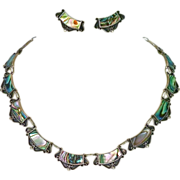 Mexican Designer Sterling Abalone Necklace & Earrings Set