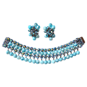 AB Rhinestone & Aqua Art Glass Dangle Wide Bracelet & Earrings Set