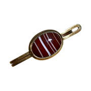 Gold Filled Tie Bar w Striped Agate c1950s
