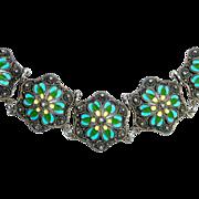 Egyptian Revival 900 Silver Enamel Link Bracelet