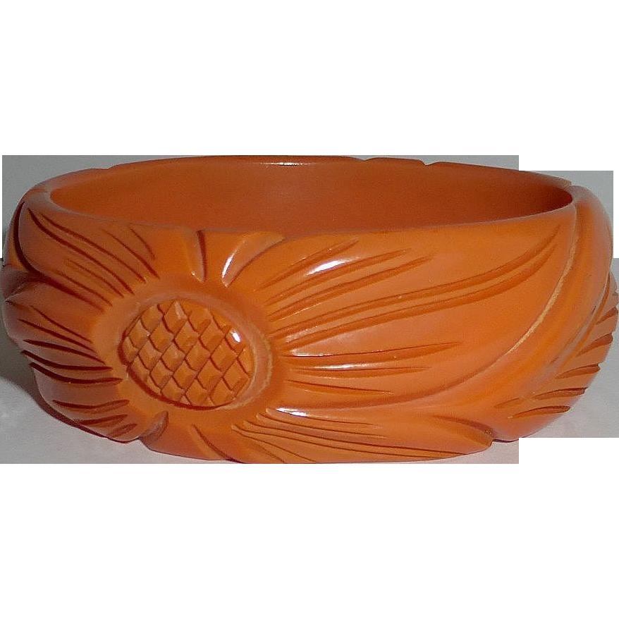 Carved Floral Tangerine Bakelite Bracelet