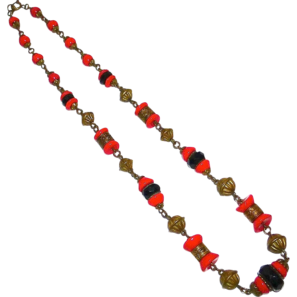 Art Deco Czech Red & Black Glass & Embossed Brass Bead Necklace
