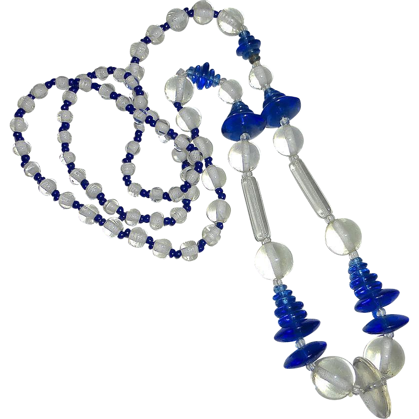 Art Deco Cobalt Blue & Clear Glass Bead Necklace