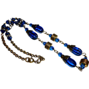 Art Deco Peacock Blue Glass & Brass Bead Necklace