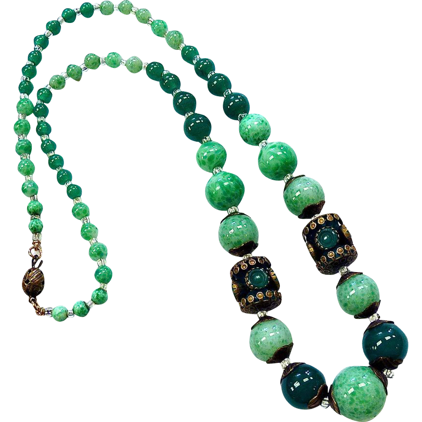 Art Deco Czech Green Glass Bead & Brass Necklace