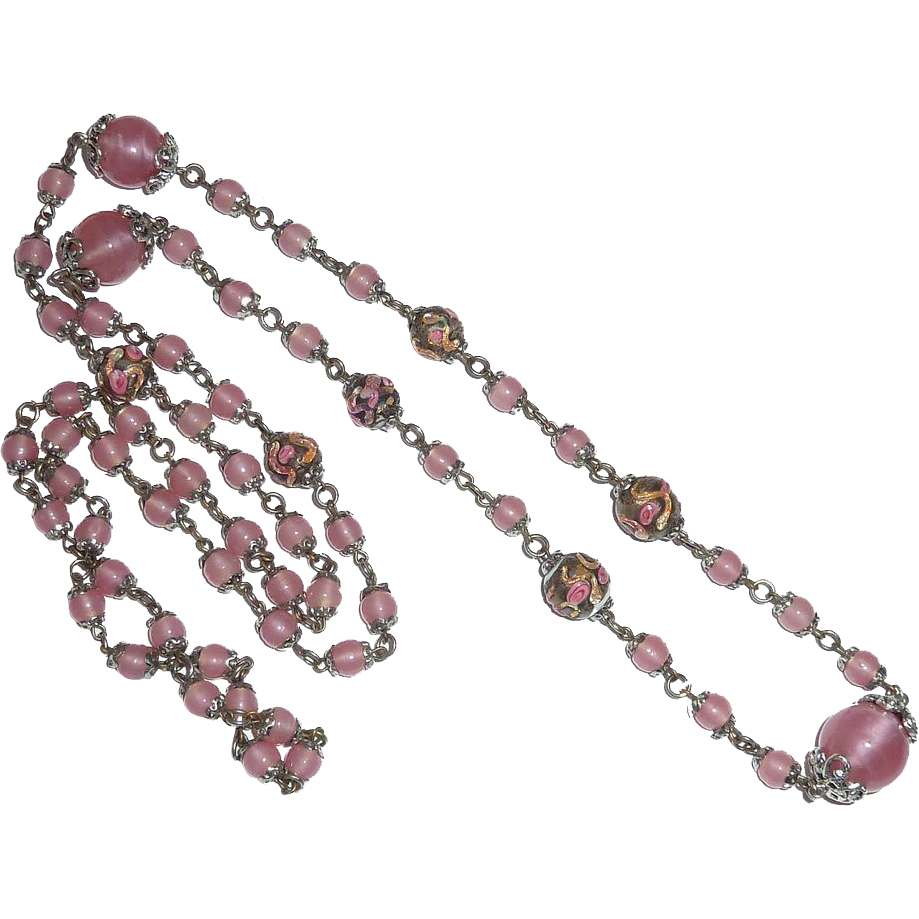 Venetian  Pink Pearl Glass Graduated Beads Applied Designs