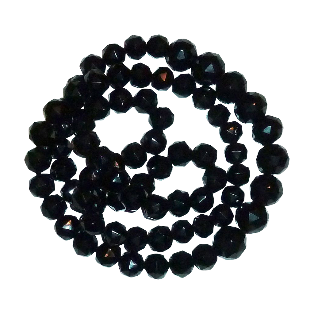 Victorian Long Graduated Black Glass Bead Mourning Necklace