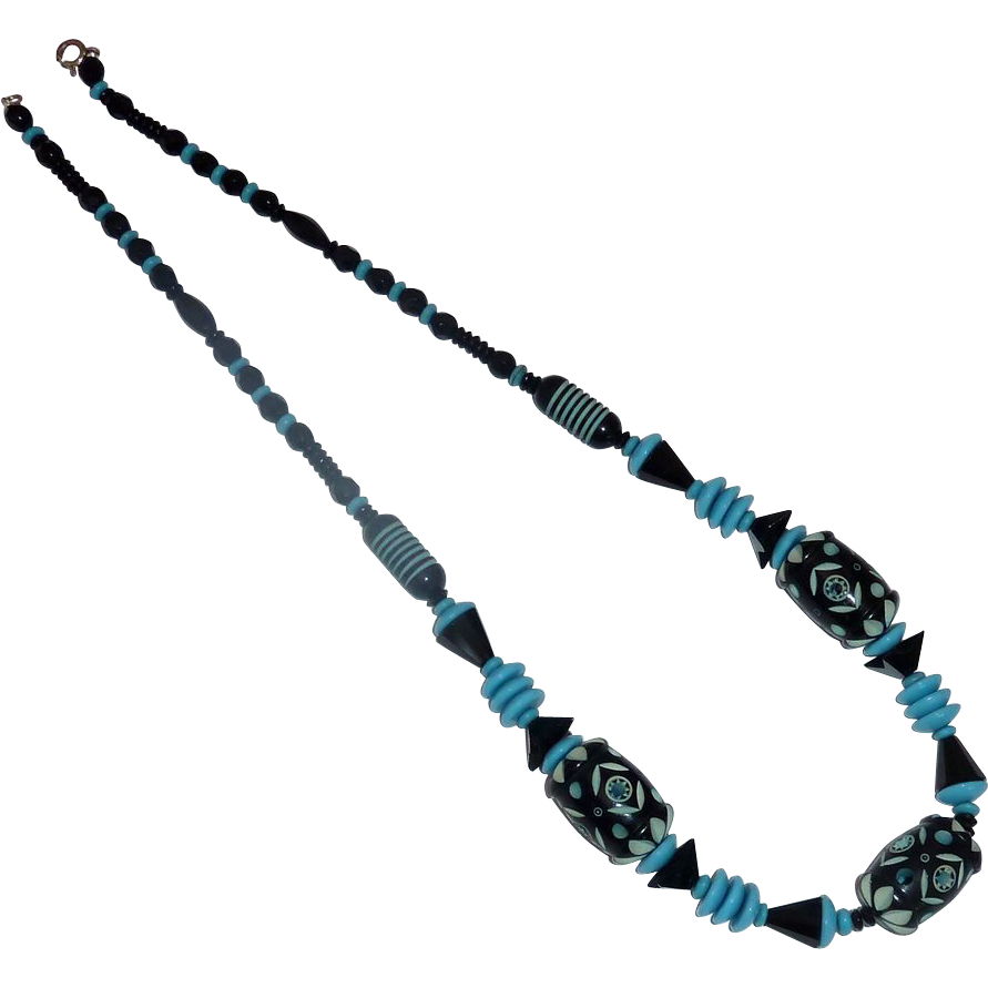 Art Deco Necklace Black & Aqua Glass & Carved Resin Beads