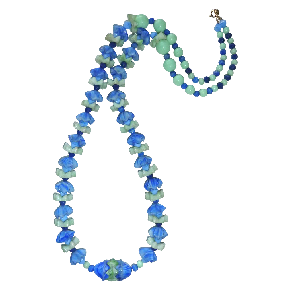 Art Deco Blue & Green Slag Glass Flower Bead Necklace