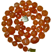 Quality Antique Faceted Natural Carnelian Bead Necklace
