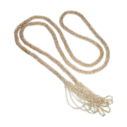 Flapper Woven Champagne Glass Bead Sautoir Rope Necklace