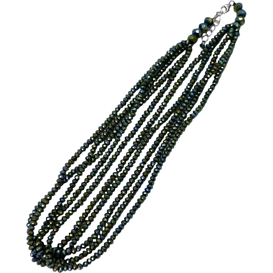 Iridescent Blue-Green Glass Multiple Strand Bead Necklace