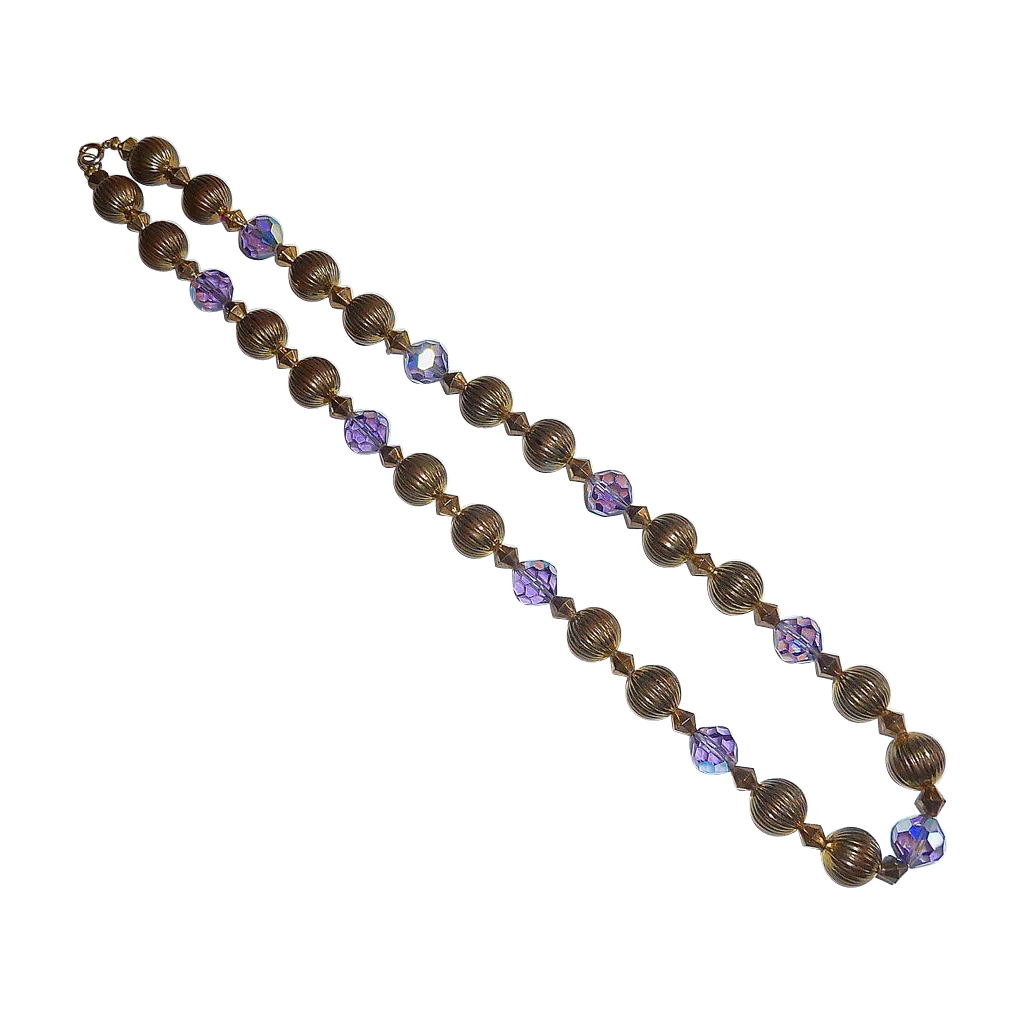 Purple AB Glass Flashed Glass & Fluted Bead Necklace