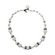 White Milk Glass Bead Necklace Rhinestone Rondels c1940s