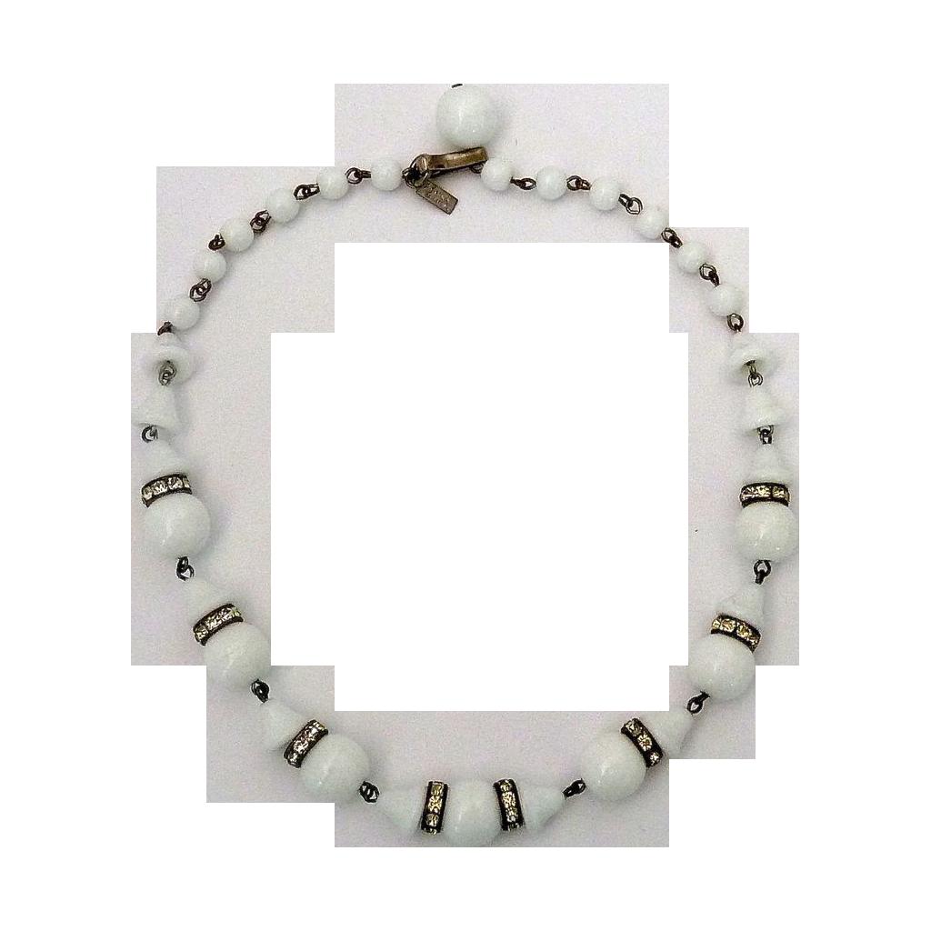 White Milk Glass Bead Necklace Rhinestone Rondels c1940s