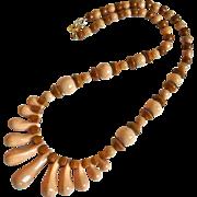Art Deco Graduated Fringe Glass Bead Necklace