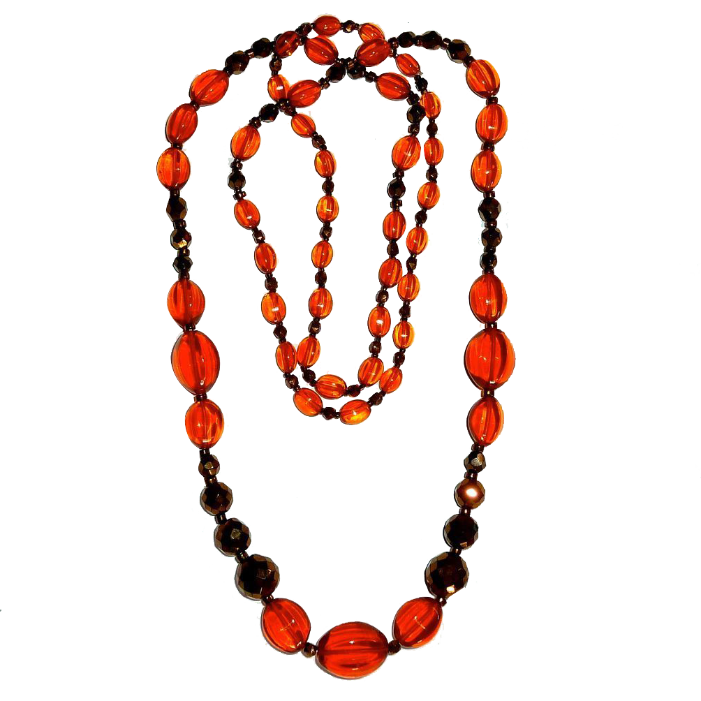Vivid Orange & Copper Flashed Graduated Glass Bead Necklace