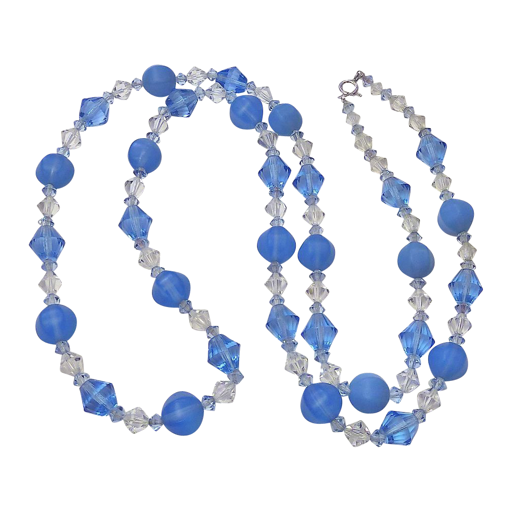 Long Strand Crystal & Periwinkle Blue Frosted Glass Beads