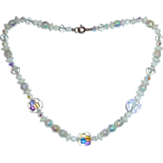 White AB Glass Bead and AB Crystal Bead Necklace