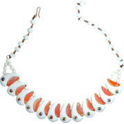 Funky Vintage Milk Glass & Salmon Pink Bead Necklace Inset with Rhinestones